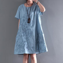 Load image into Gallery viewer, blue short sleeve sundress Appliques summer blouse holiday shift dresses