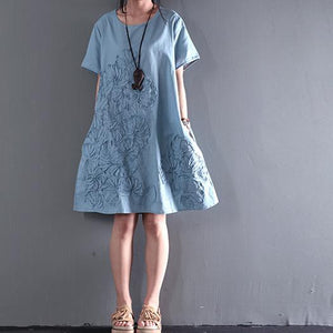 blue short sleeve sundress Appliques summer blouse holiday shift dresses