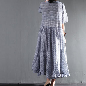 blue striped linen summer maxi dresses layered plus size sundress casual style