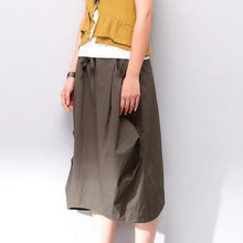 Laden Sie das Bild in den Galerie-Viewer, brown wide leg pants summer linen palazzo pants skirt brown