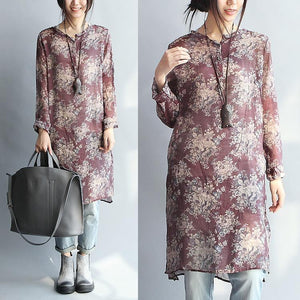 burgundy floral silk dresses cotton shirt dress long sleeve blouse
