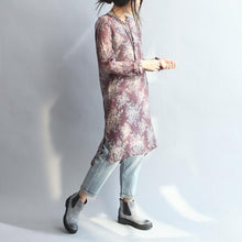 Load image into Gallery viewer, burgundy floral silk dresses cotton shirt dress long sleeve blouse