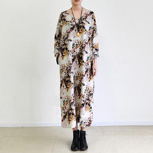 Load image into Gallery viewer, fall Beige floral cotton dress plus size cotton clothing