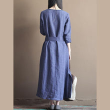 Laden Sie das Bild in den Galerie-Viewer, fall Blue vintage long line dresses plus size linen clothing