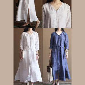 fall Blue vintage long line dresses plus size linen clothing