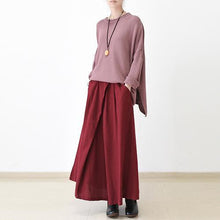 Load image into Gallery viewer, fall Burgundy linen skirt plus size long maxi skirts
