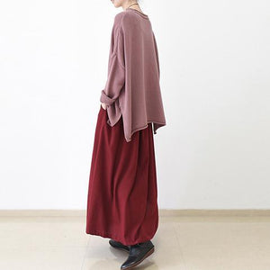 fall Burgundy linen skirt plus size long maxi skirts