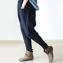 Load image into Gallery viewer, fall Navy cotton pants unique design