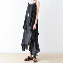 Load image into Gallery viewer, fall black cotton dresses flowy cardigan with asymmetrical layered dress inside two pieces