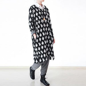 fall black dotted plus size cotton dress oversized shift dresses