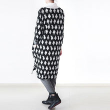 Load image into Gallery viewer, fall black dotted plus size cotton dress oversized shift dresses