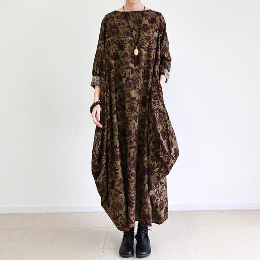 fall brown baggy long sleeve linen dresses long cotton maxi dress oversized cotton clothing