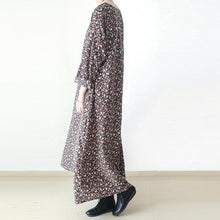 Load image into Gallery viewer, fall brown plus size floral cotton dresses long sleeve maxi dress gown