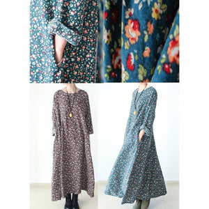 fall brown plus size floral cotton dresses long sleeve maxi dress gown