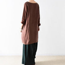Load image into Gallery viewer, fall chocolate silk shift dress oversize blouse