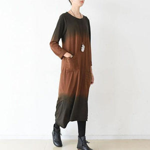 fall cozy gradient orange caftan dresses layered pocket details