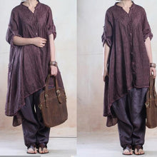 Load image into Gallery viewer, fall dresses vintage asymmetrical linen dress caftans overize in blackish purple