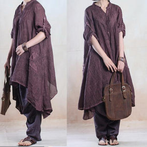 fall dresses vintage asymmetrical linen dress caftans overize in blackish purple