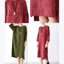 Laden Sie das Bild in den Galerie-Viewer, fall grass green cotton dresses plus size linen maxi dress