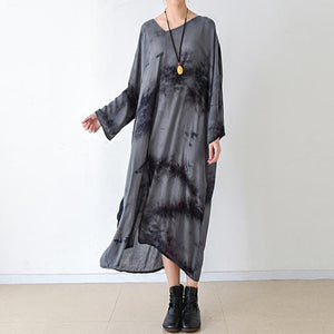 fall gray floral linen dresses asymmetrical long sleeve cotton dress plus size clothing