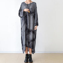 Load image into Gallery viewer, fall gray floral linen dresses asymmetrical long sleeve cotton dress plus size clothing