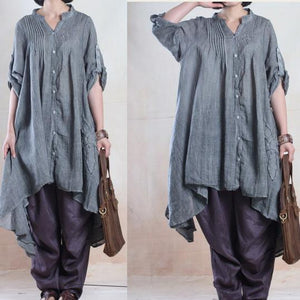 fall gray linen dresses half sleeve asymmetiral originally desgined plus size spring dress