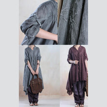 Laden Sie das Bild in den Galerie-Viewer, fall gray linen dresses half sleeve asymmetiral originally desgined plus size spring dress