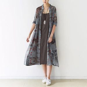 2016 fall gray silk maxi dress long cardigans