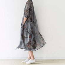 Laden Sie das Bild in den Galerie-Viewer, 2016 fall gray silk maxi dress long cardigans