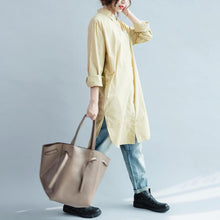Load image into Gallery viewer, fall khaki cotton dress womens long shirt long sleeve cotton blouse