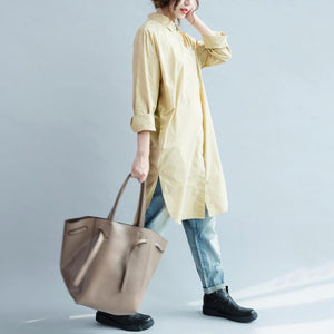 fall khaki cotton dress womens long shirt long sleeve cotton blouse
