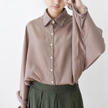 Load image into Gallery viewer, fall light khaki silk shirt blouse oversized top