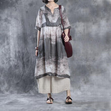 Load image into Gallery viewer, fall linen print dresses plus size maxi dress half sleeve