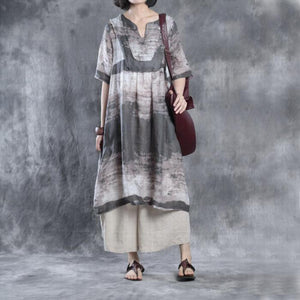 fall linen print dresses plus size maxi dress half sleeve