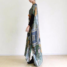 Load image into Gallery viewer, fall painted floral cotton dresses flowy chiffon maxi dresses