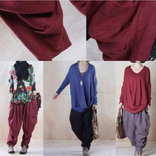Load image into Gallery viewer, fall pants plus size black linen pants harem trousers