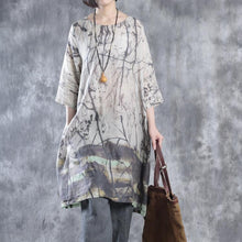 Load image into Gallery viewer, fall print linen dresses in biege Mid-sleeve