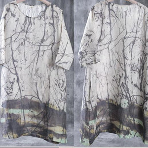 fall print linen dresses in biege Mid-sleeve