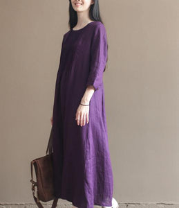 2016 fall purple linen dresses bracelet sleeve pleated linen maxi dress gowns