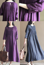Laden Sie das Bild in den Galerie-Viewer, 2016 fall purple linen dresses bracelet sleeve pleated linen maxi dress gowns