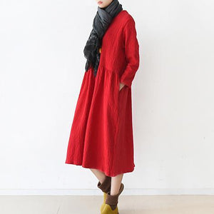 fall red linen dresses pleated design at wasit falttering cut