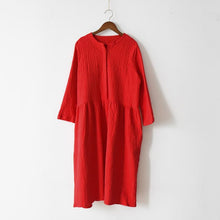 Laden Sie das Bild in den Galerie-Viewer, fall red linen dresses pleated design at wasit falttering cut