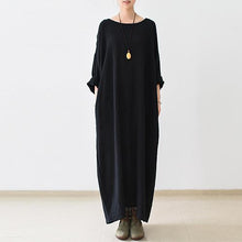 Load image into Gallery viewer, fall thin black linen dresses long sleeve linen caftans gown