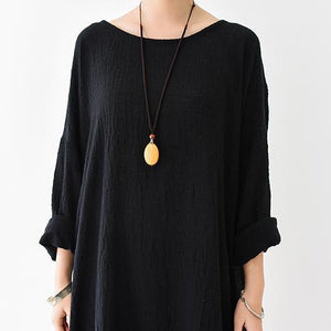 fall thin black linen dresses long sleeve linen caftans gown