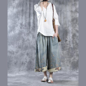 fall white causal blouse oversize linen tops women shirt