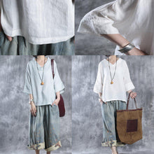Load image into Gallery viewer, fall white causal blouse oversize linen tops women shirt