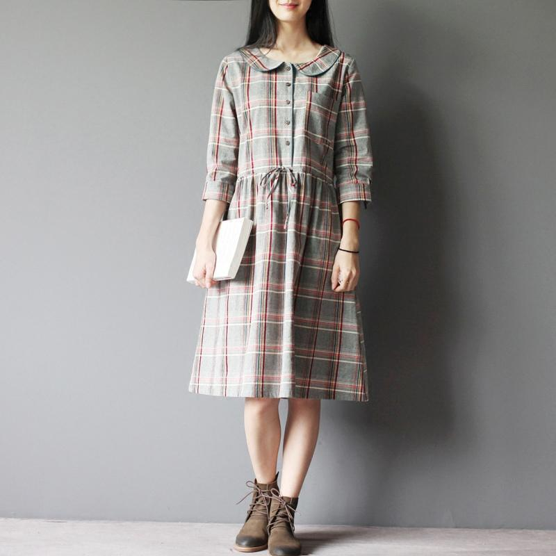 gray plaid cotton sundress plus size shirt dresses oversize