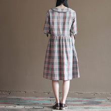 Load image into Gallery viewer, gray plaid cotton sundress plus size shirt dresses oversize