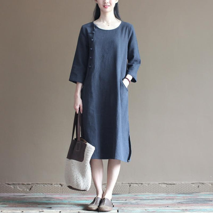 half sleeve navy linen dress summer spring maxi dresses casual style