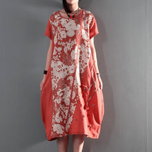 Load image into Gallery viewer, joyful summer floral linen maxi dresses plus size summer dresses casual linen clothing orange